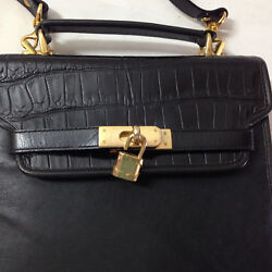 Crocodile Leather Hand Bag Hermes Mediterranean Harvest Design Black New Perfect