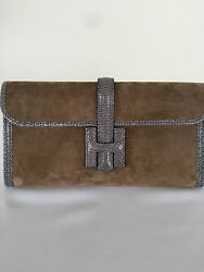 NEW WITH TAGS HERMES JIGE SUEDE WITH LIZARD ELAN CLUTCH MARRON GLACEAGATE 29CM
