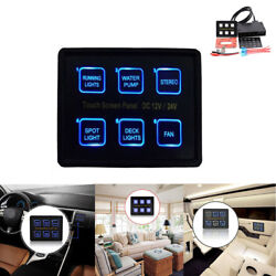 LED Touch Screen Panel Slim Switch Controls Car Boat Truck Marine 6 Gang 12V24V