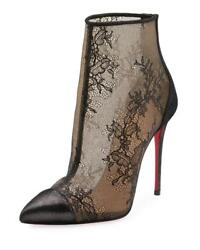 Christian Louboutin Gipsybootie 100 Floral Lace Ankle Heels Booties Boots 1195