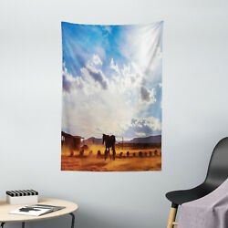 Western Tapestry Horse Valley Sky View Print Wall Hanging Decor