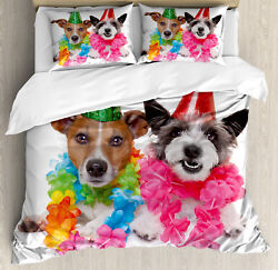 Colorful Duvet Cover Set with Pillow Shams Birthday Terrier Print