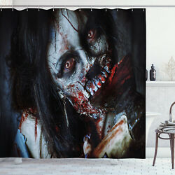Zombie Shower Curtain Bloody Axe Woman Print For Bathroom