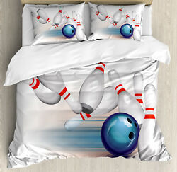 Bowling Party Duvet Cover Set With Pillow Shams Thrown Ball Hit Print