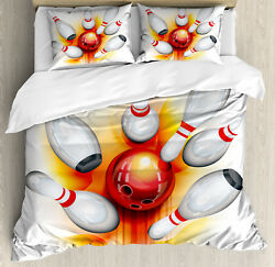 Bowling Duvet Cover Set With Pillow Shams Red Ball Spread Pins Print