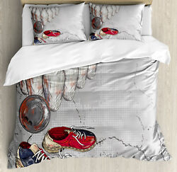 Bowling Duvet Cover Set With Pillow Shams Artsy Grunge Objects Print