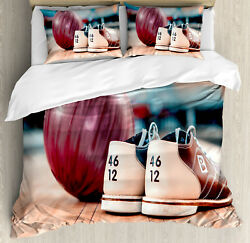 Bowling Party Duvet Cover Set With Pillow Shams Shoes Purple Ball Print