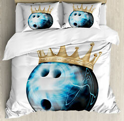 Bowling Party Duvet Cover Set With Pillow Shams Ball With Crown Print