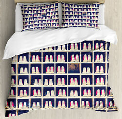 Bowling Party Duvet Cover Set With Pillow Shams Shoes In Racks Print