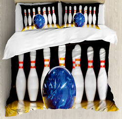 Bowling Party Duvet Cover Set With Pillow Shams Blue Ball On Lane Print