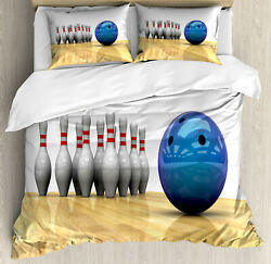 Bowling Party Duvet Cover Set With Pillow Shams Objects On Floor Print
