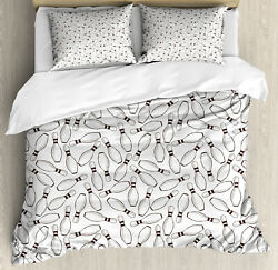 Bowling Party Duvet Cover Set With Pillow Shams Hobby Sketchy Print