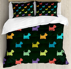 Dog Lover Duvet Cover Set with Pillow Shams Terrier Silhouettes Print