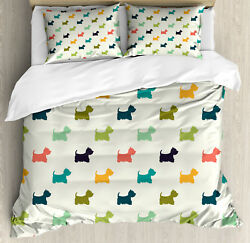 Dog Lover Duvet Cover Set with Pillow Shams Polka Dot Terriers Print