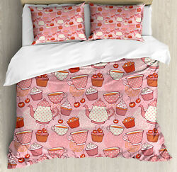 Polka Dots Duvet Cover Set With Pillow Shams Teapots Cups Cakes Print
