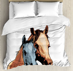 Country Duvet Cover Set With Pillow Shams Farm Life Two Horses Print
