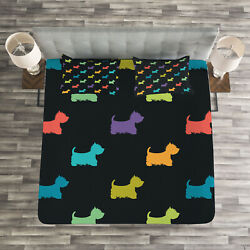Dog Lover Quilted Bedspread & Pillow Shams Set Terrier Silhouettes Print
