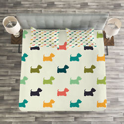 Dog Lover Quilted Bedspread & Pillow Shams Set Polka Dot Terriers Print