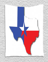 Texas Star Tapestry Map Outline Flag Print Wall Hanging Decor