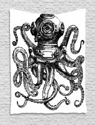 Octopus Tapestry Vintage Diver Animal Print Wall Hanging Decor