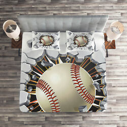 Sports Quilted Coverlet And Pillow Shams Set Baseball Wall Concrete Print