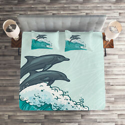 Dolphin Quilted Coverlet And Pillow Shams Set, Sea Waves Sketch Art Print