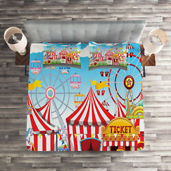 Landscape Quilted Coverlet And Pillow Shams Set Carnival Many Rides Print
