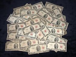 Collection Of 60 1953/1963 2 Star Red Seal Legal Tender United States Notes