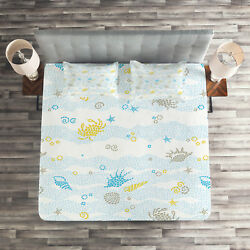 Maritime Quilted Coverlet & Pillow Shams Set Crabs and Seashells Print