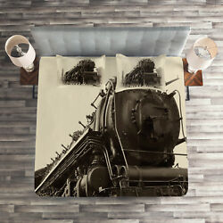 Steam Engine Quilted Coverlet And Pillow Shams Set, Antique Train Art Print