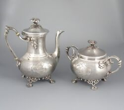 Antique French Christofle Silver Plate Teapot And Sugar Bowl Late 19th Century