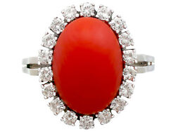 Vintage 7.36 Ct Red Coral 0.80 Ct Diamond 18k White Gold Cocktail Ring Size 8