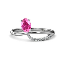 Oval Cut Pink Sapphire And Diamond Womens Promise Ring 1.17 Ctw 14k Gold Jp166519