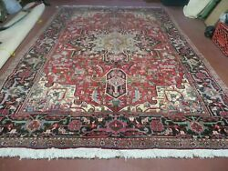 7and039 X 10and039 Vintage Hand Made India Oriental Floral Hand Knotted Wool Rug Nice