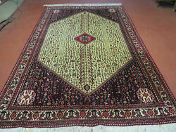 7' X 10' Vintage Hand Made Indian Floral Wool Rug Hand Knotted Carpet Ivory Red