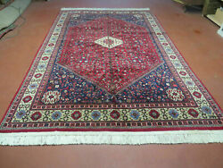 7' X 10' Vintage Hand Made Indian Floral Wool Rug Hand Knotted Carpet Red Ivory