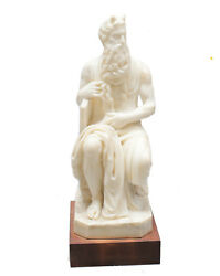 Hand Carved Marble Sculpture Of Moses After Michelangelo On Wooden Base 19th C