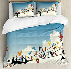 Multi Duvet Cover Set With Pillow Shams Animals Bird Silhouettes Print