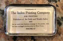 1920andrsquos Index Print Co. Paper Weight West Texas 4andrdquo X 2.75andrdquo