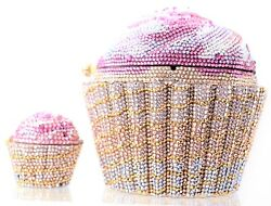 Judith Leiber CupCake PillBox + Minaudière Evening Bag Designer Pink Gold NEW