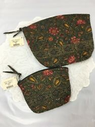"""Vera Bradley RETIRED 1999 """"Forest"""" Green Floral Large & Small Cosmetic Bags NWT"""