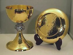 + Nice European Hand Crafted Chalice And Bowl Paten + All Goldplated + Cu100