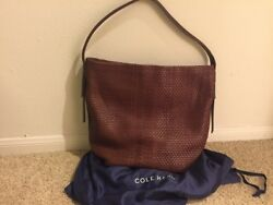 Cole Haan Gabriella Soft Weave Leather Bucket Bag Brown $210.00
