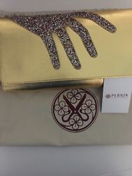 100authentic Perrin Parris Golden Holiday Large Clutch With Hand Strap Fashion