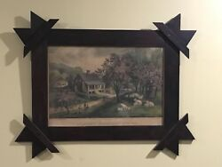 1869 Small Folio Currier And Ives American Homestead Spring Hand Made Frame