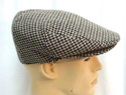 Mens Brown Houndstooth Ivy Golfing Duck Bill Hat Size Large New