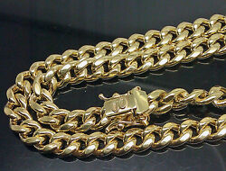 10k Real Gold Miami Cuban Chain Necklace 26 Inch 8mm Box Lock Strong Link