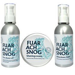 Fuar Ach Snog Mens Shaving Cream Pre-shave Oil And Aftershave Balm All Natural Set