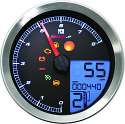 Koso Ba051221 Lcd Color Change Speedo And Tachometer Silver Bezel