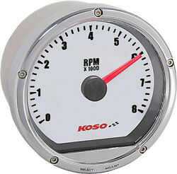 Koso Ba035102 T And T Electronic Tachometer Chrome Casing/white Face